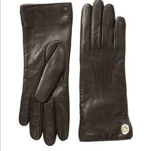 Coach Iconic Leather Cashmere Lined Gloves Brown